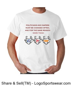 Canadian Politicians by Mark Twain, Gildan Adult T-shirt Design Zoom